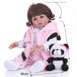 Npk 48cm boneca de silicone corpo inteiro do bebê em linha reta encaracolado cabelo realista reborn da criança boneca de banho do bebê brinquedo para crianças