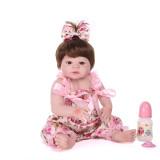 Boneca Bebe Reborn Laura Baby 45 Cm corpo todo de Silicone Boneca Menina Reborn Realista bebes cabelo e olhos castanhos