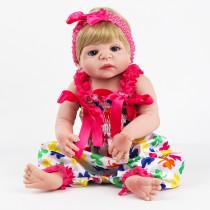 Bebe Baby Reborn Boneca 100% Silicone Menina Loira 55cm Real