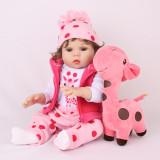 Boneca Bebe Reborn Laura Baby 45 Cm corpo todo vinil silicone menina realista girafinha
