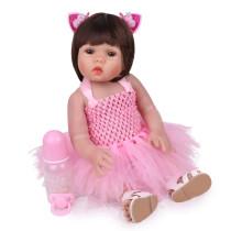 NPK 48cm bebê em linha reta encaracolado boneca de silicone corpo inteiro do cabelo realista reborn da criança boneca de banho do bebê brinquedo para crianças