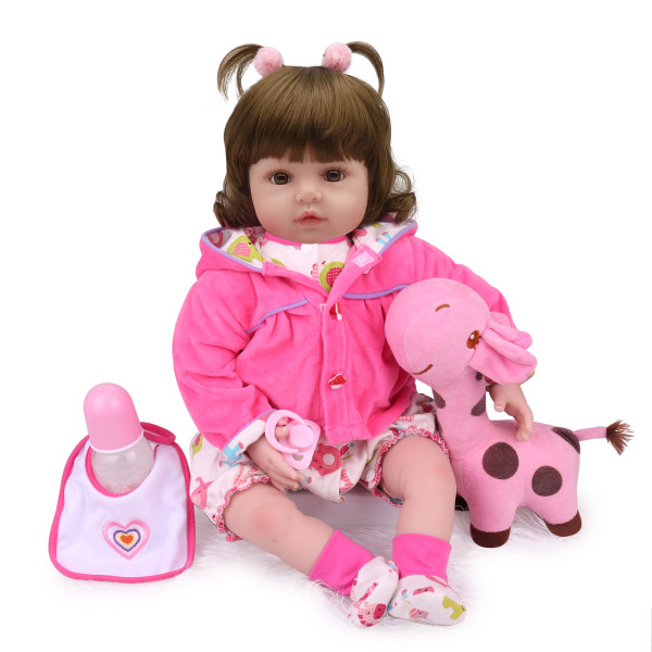 Npk boneca reborn realista, boneca de 22  55cm realista de menina, brinquedo de silicone para bebês, presente de natal bonecas para crianças