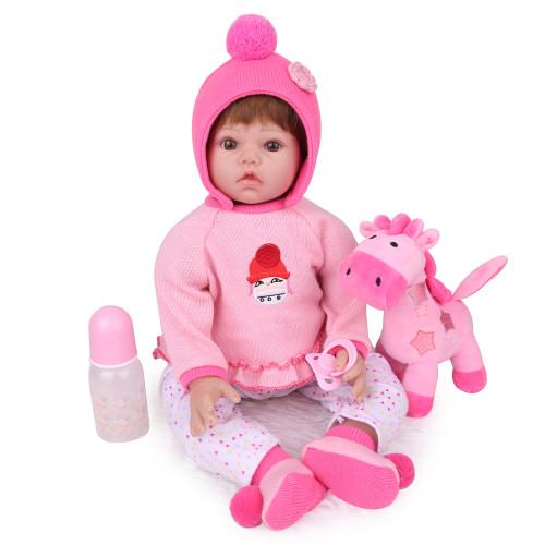 reborn boneca do bebê brinquedos 55cm bonitos a menina  recém-nascidos bebe presentes de aniversário crianças playmate silicone vinil algodão corpo