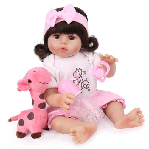 NPK princesa 55cm bebe menina renascer criança  boneca realista real toque de corpo inteiro silicone macio à prova dwaterproof água brinquedo de banho boneca presente da menina