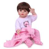 Npk duas cores do cabelo original de corpo inteiro silicone boneca macio renascer da criança menina princesa bebê boneca banho brinquedo à prova dwaterproof água 55cm