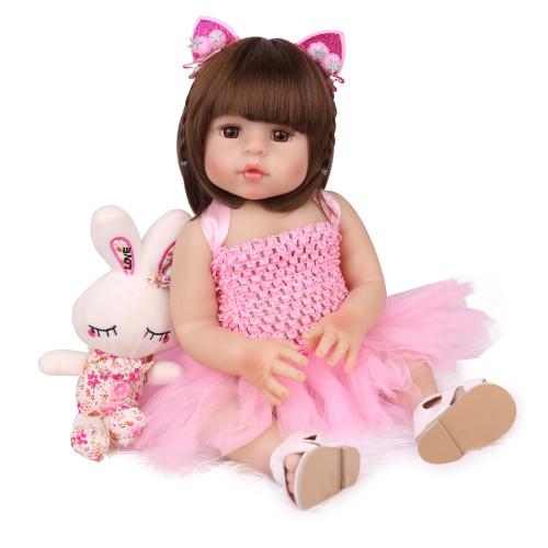 47cm cheio de silicone corpo reborn boneca do bebê brinquedo para a menina de vinil recém-nascido bebe banhar brinquedo presente aniversário