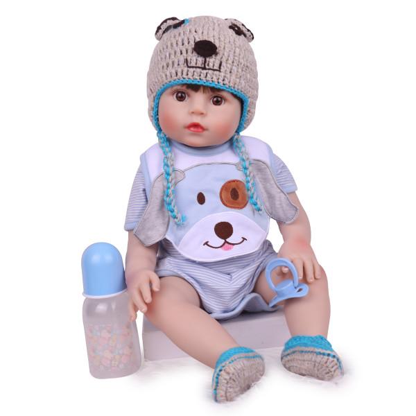 Boneca realista reborn, bebê 48cm realista de silicone, macia, toque, adorável, recém-nascido pesar