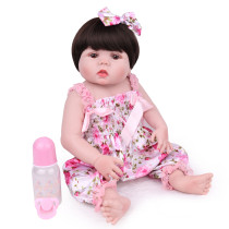 Bebê renascido em silicone completo pode tomar banho, companheiro de brincadeira, peruca de brinquedo infantil, bebê realista