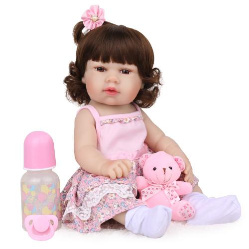 Npk silicone cheio reborn bebê boneca criança playmate presente para meninas bebê menina brinquedos macios para bebes reborn brinquedo 48cm