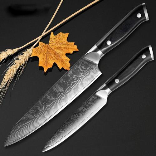 Damascus Chef Knife 2 PCS Kitchen Knives Set