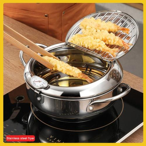 Induction Cooker Universal Stainless Steel Flat Bottom Fryer-the first 100 customers get our food clips for free