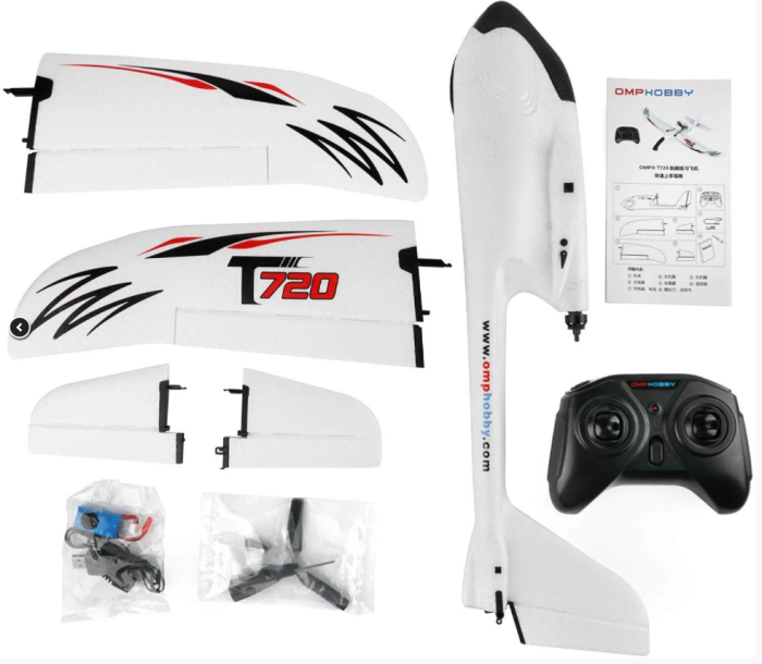 OMPHOBBY T720 RC Plane RTF 6-Axis Gyro Stabilizer RC Airplane With Normal Flight Mode One-button Start Aerobatic Flight Mode Beginners RC Planes