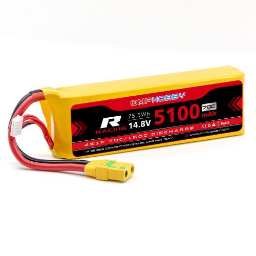 OMPHOBBY 4s LiPo Battery 70C (14.8V/5100mAh) w/XT90 Connector