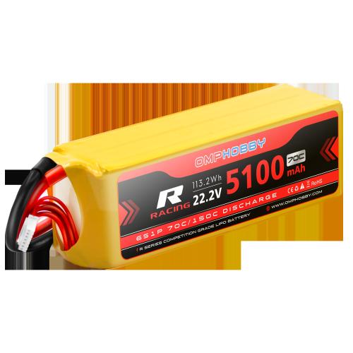 OMPHOBBY 6s LiPo Battery 70C (22.2V/5100mAh) w/AX150 Connector