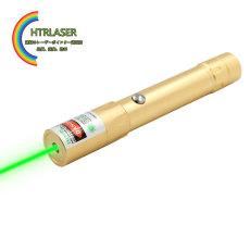 金色外観 100mw高出力緑色レーザーポインターUSB充電