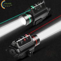狩猟用レーザーポインター 上下左右調整可能  赤外線緑色レーザー照準器18mm/22mmカードスロット  予熱なし 強力な長距離戦術懐中電灯 戦術懐中電灯(ピカティニー)
