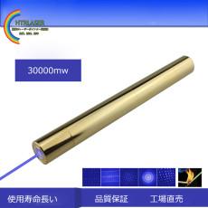 ロング950金メッキ銅 30000mw青色超強力レーザーポインター燃える 450nm 屋外レーザー カラス対策可能