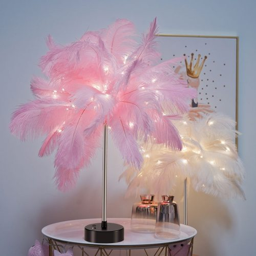 LED Fairy Table Lamp - Adjustable Feather Desk Light Warm White Table Lamp Night Light