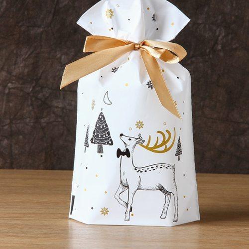 10pcs Santa Gift Bag Candy Bag Snowflake Crisp Bag
