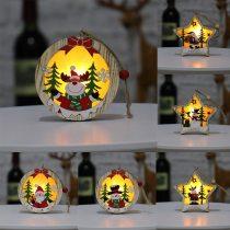 Wooden Light Up Christmas Pendants Luminous Xmas Tree Drop Ornament