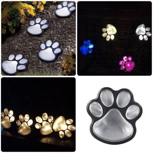 Solar-Powered Paw Print Lights Garden Lantern