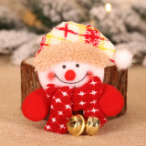 Christmas Brooches LED Light Cartoon Santa Claus Snowman Elk Plush Brooch Decoration