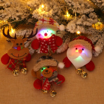 Christmas Brooches LED Light Cartoon Santa Claus Snowman Elk Plush Brooch Decoration