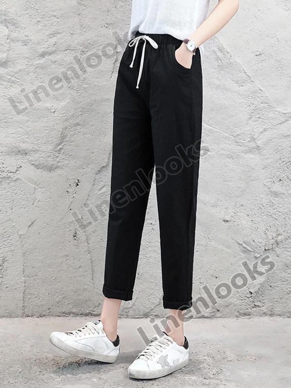 Women's Cotton Linen Ankle Length Pants