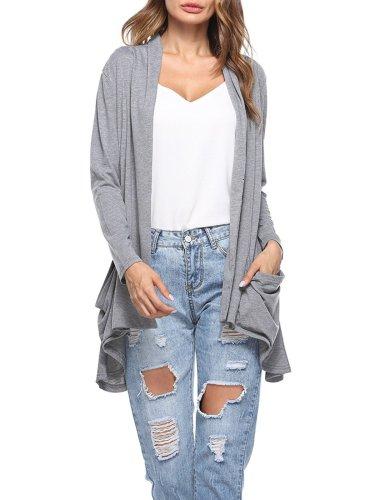 Casual Solid Pockets Cotton Cardigan