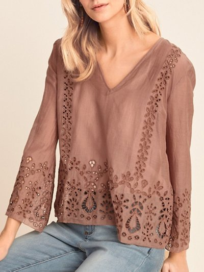 Brown V Neck Shift Casual Solid Shirts & Tops