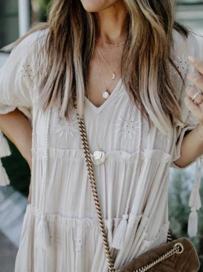 Creamy White Plain Half Sleeve V Neck Dresses