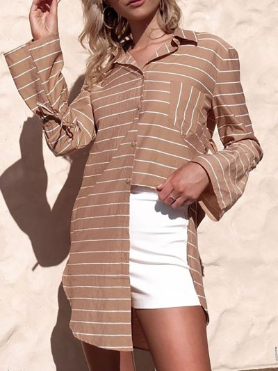 Casual Striped Blouses&Shirt