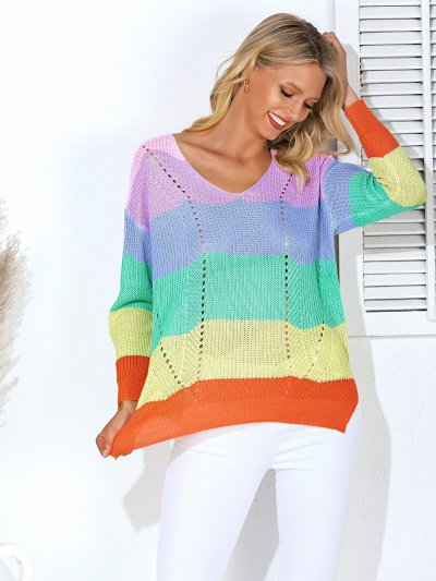 Multicolor Color-Block Striped Eyelet Long Sleeve Sweaters