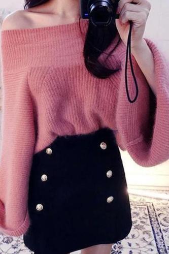 Fashion Pure Colour   Off-Shoulder Sweater