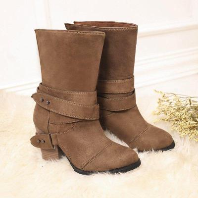 Women Comfy Suede Mid-Calf Chunky Heel Slip-On Boots