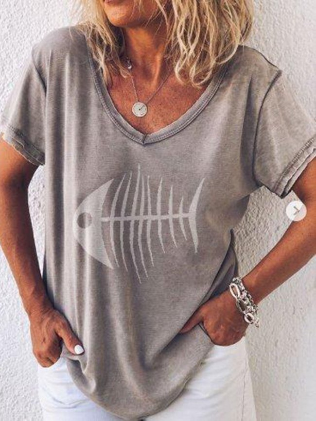 Round Neck Casual Cotton-Blend Shirts & Tops