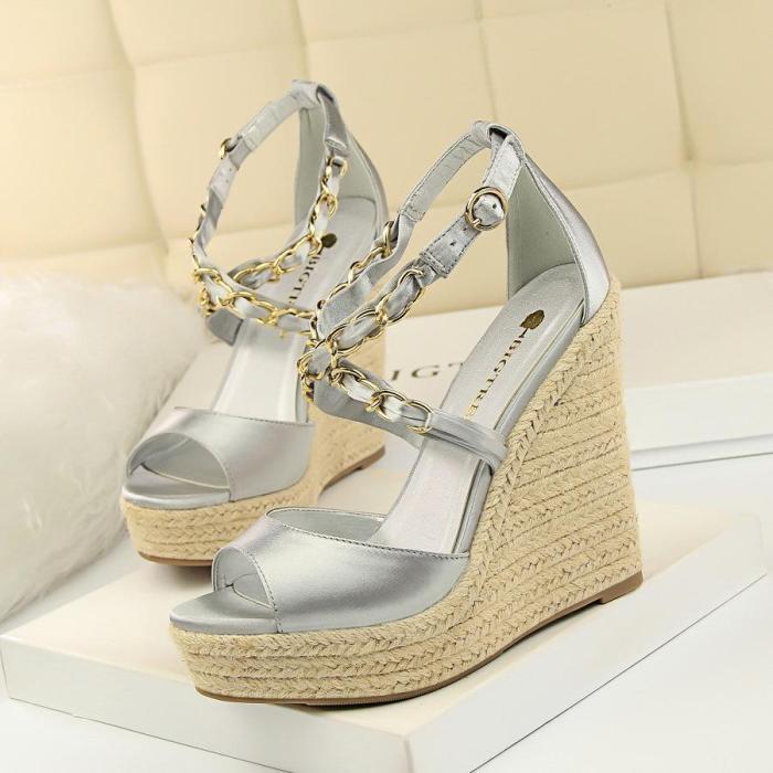 Gladiator Cross Chain Peep Toe Platform Sandals Buckle Strap Wedges High Heels Pumps Shoes