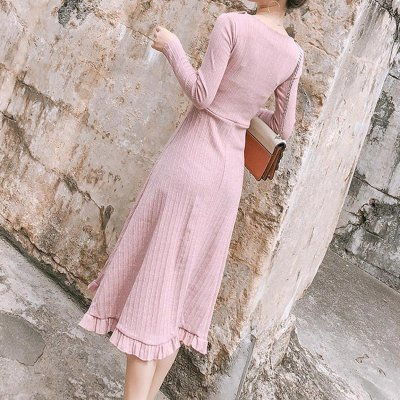 Casual Show Thin   Knitted Sweater Maxi Dress
