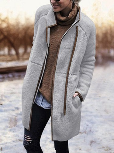 Solid Wool Blend Outdoor Coats