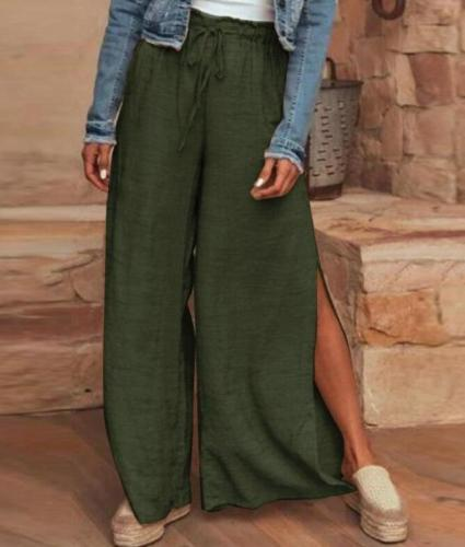 Solid Split Hem Trousers Summer Wide Leg Pants Casual Elastic Waist Long Pants Loose Pantalon Beach Streetwear 5XL