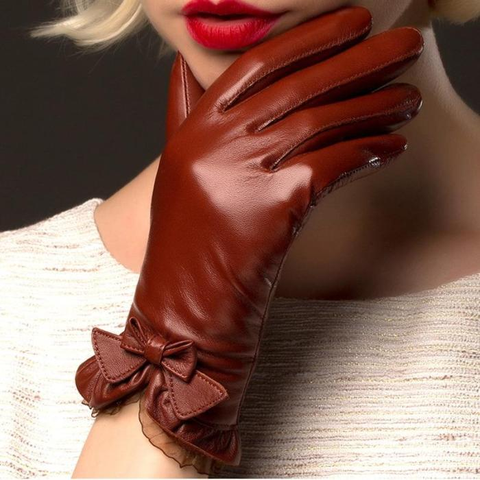 Women Leather Glove Thermal Winter Driving Keep Warm