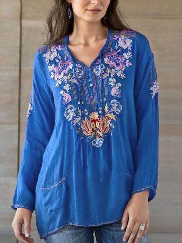 Elegant V Neck Printed Long Sleeve Shirts & Tops