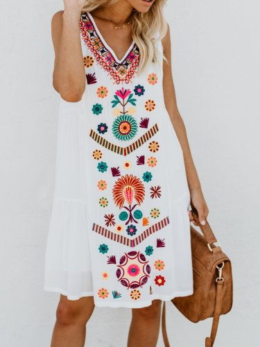 V neck White Women Summer Dress Shift Sleeveless Mini Dress