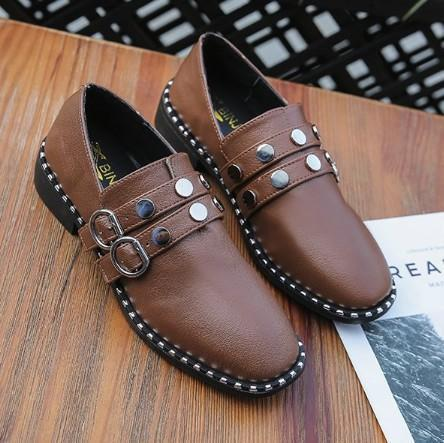 Brown Spring/Fall PU Chunky Heel Daily Adjustable Buckle Loafers