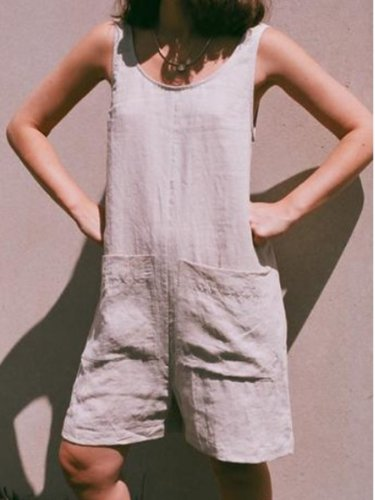 Sleeveless Solid Linen Jumpsuits