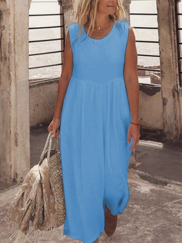 U-Neck Solid Casual Maxi Dresses