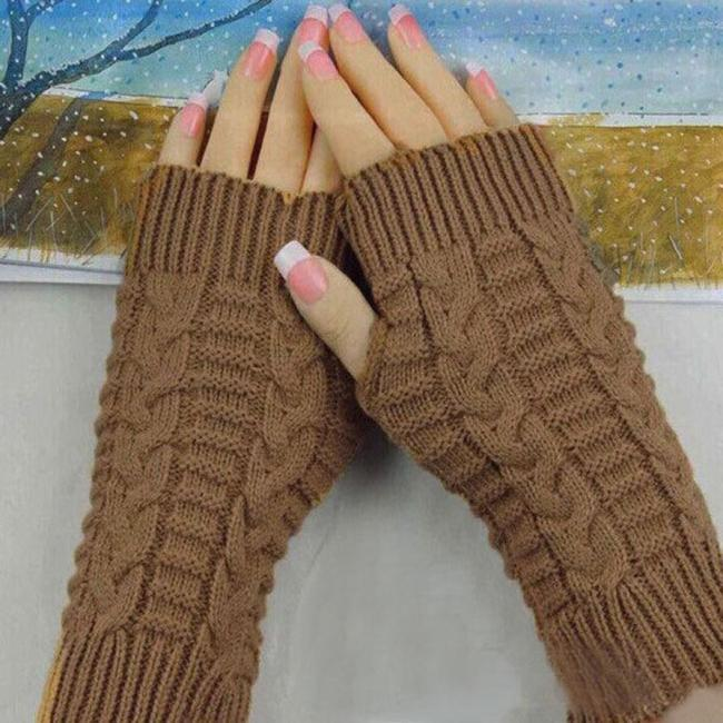Winter Knitted Fingerless Gloves Mittens for Women Solid Color