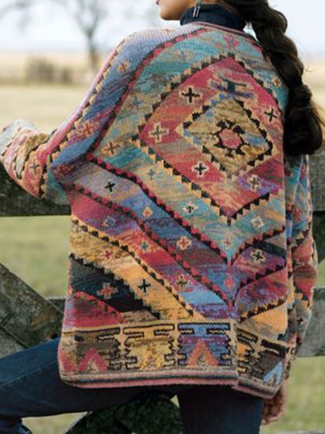 Vintage Color-Block Tribal Women's Cardigan
