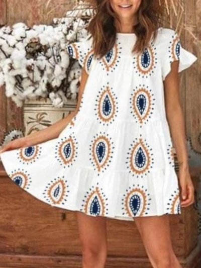 White Cotton Casual Dresses