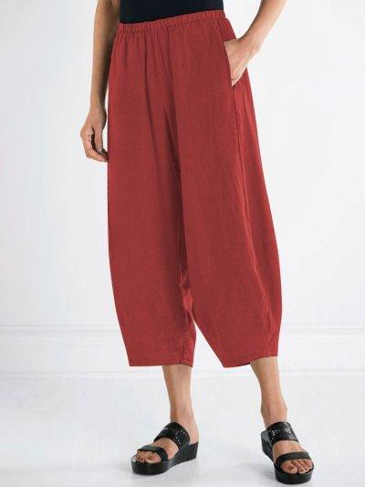 Plus Size Women Pants Pockets Casual Cropped Pants